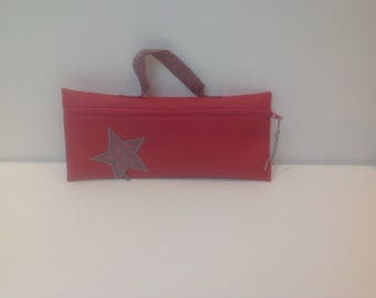 Star and faux leather POUCH