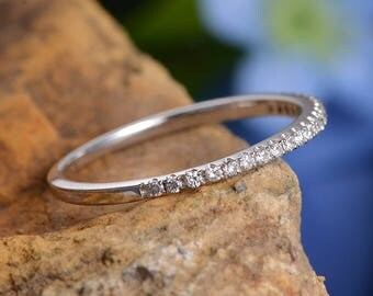 White Gold Wedding Band Women Diamond Micro Pave Eternity Band Milgrain Bridal Band Engraving Minimalist Promise Ring Dainty Stacking Ring