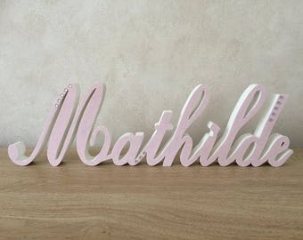 Name personalized wood - letters à poser - calligraphy - christening