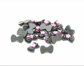 Pink black flower 50 bow cabochons