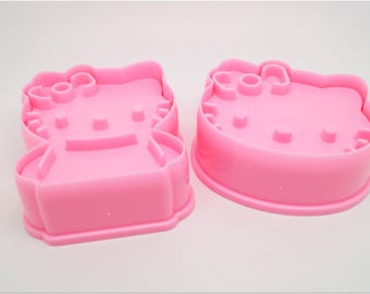 Set of 2 cookie cutters - pink cat - kawaii