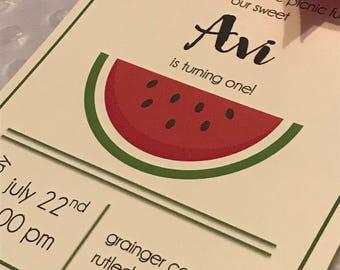 Summer Picnic Watermelon Invitation