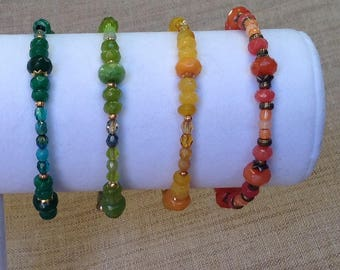 Choose jade colored memory wire bracelet.