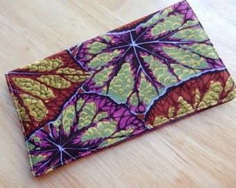 """Checkbook Cover 6.5""""x3.5"""", Coupons Wallet, Cash Holder with Big Leaves Fabric"""