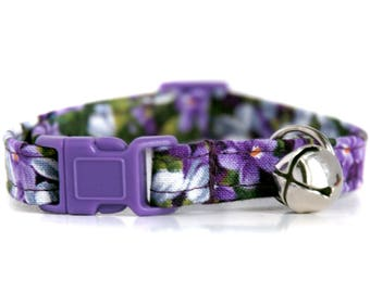 Wisteria,,Purple Floral Cat Collar,