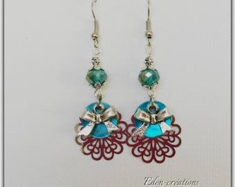 Earrings elegant earrings glass bead turquoise mother of Pearl sequins prints