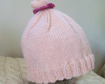 Pixie hat for baby girl 3-6 months hand knitted wool