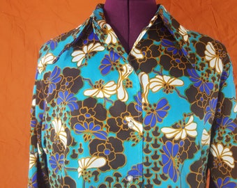 Turquoise Blue 1970s Bright Floral Print Blouse Shirt