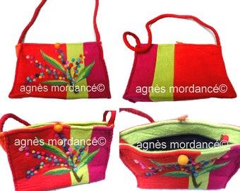 """Felted bag multicolor """"Trinidad"""" - pure Merino Wool felt - OOAK"""