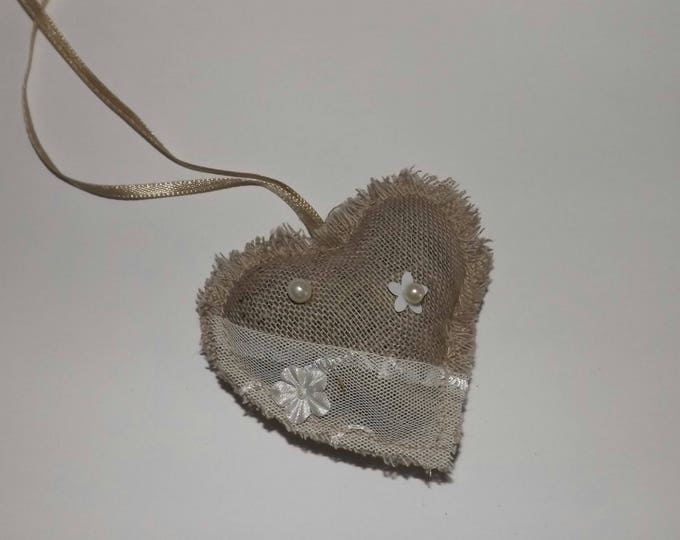 Heart made of linen fabric, lavender pearls of ornaments, decoration, wedding, wedding decor, country wedding, romantic