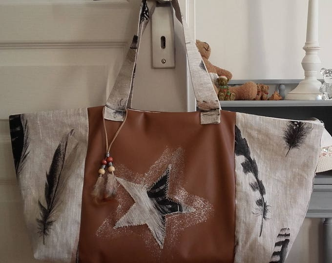 Bag, pen, shopping, Tote, Star, romantic, chic, natural, linen canvas, handmade, gift for her unique original, Valentine's day