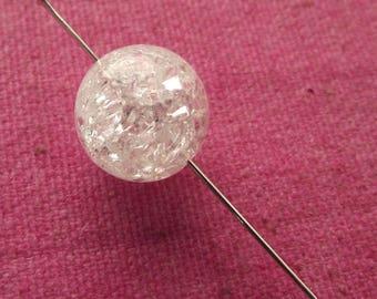 Crackle rock crystal. 12 mm beads. Set of 3.