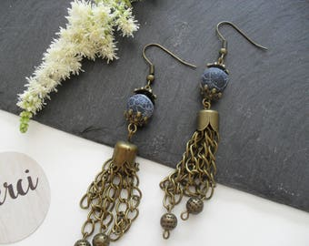 Earrings with bronze chain