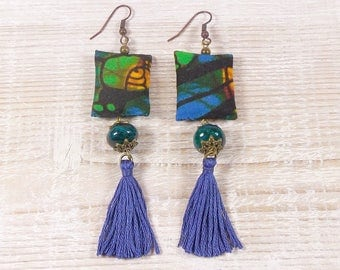 Ethnic earrings African Wax fabric, bead and tassel, blue green tones.