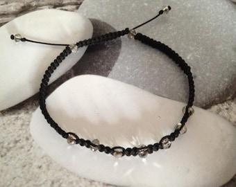 Bracelet macrame black and transparent faceted