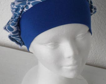 Hat beret turban chemo hat or jersey soft comfortable unique blue and white winter woman