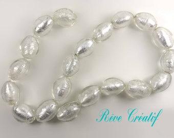 10pcs Perles Olives Perles Ovales 20mm x 15mm Perles en Verre Transparent et Feuille d'Argent