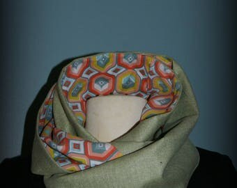 Green Vintage Tweed Snood collar gashes