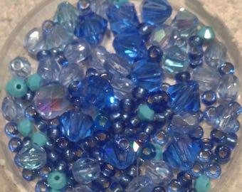 Blue beads mix, n2