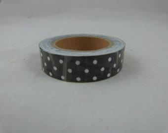 Black masking tape roll with polka dots