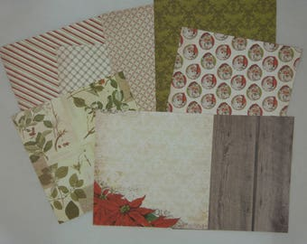 Assortment of vintage Christmas double-sided papers