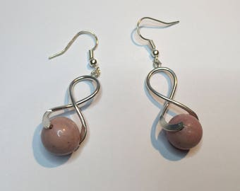 Rhodonite silver spiral earrings