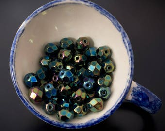 10pcs - small round faceted blue green glossy 6mm Czech glass beads