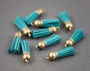 Set of 2 pcs - tassels, pendants • fringe fabrics • velvet • blue • 37mm x 10mm