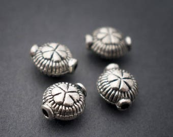 4 pcs - spacer beads, ethnic, round, flat, flowers • silver • 9mm