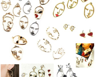 Earrings Abstract face pendants fall free stud Earring Making DIY Charms for necklaces choker Charms face Earrings Stud  Earring Findings