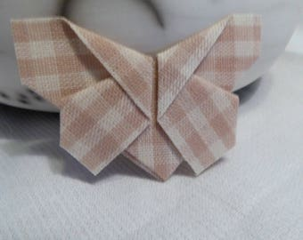 Butterfly brooch in beige gingham fabric, folded way origami and coated