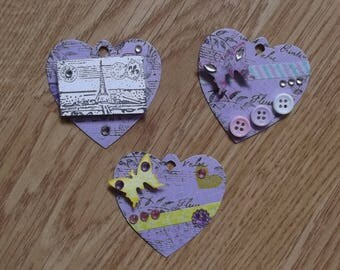 3 Purple Hearts tags for your scrapbooking creations.
