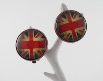 Clip - glass cabochon - English flag earrings