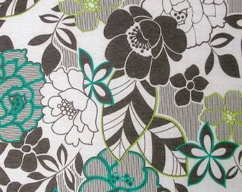 Green Grey Linear Floral Cotton Jersey Blend Knit **UK Seller**