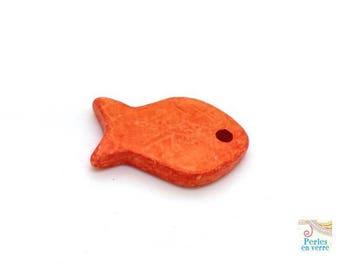 1 pendant ceramic Greek 21x27mm orange fish (pc206)