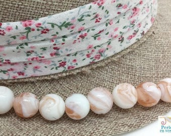 5 artisan glass lampwork marbled pink and white 13mm (pv737)