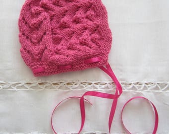 Hot pink newborn Hat
