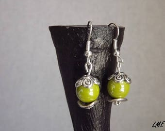 """New - earrings Collection"" boho Chic ""- artisan jewelry - green Czech glass beads, metal..."