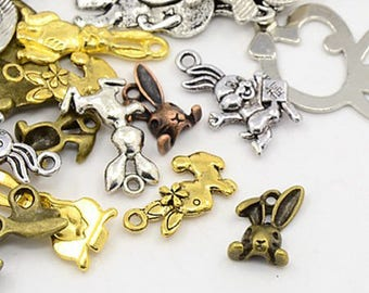 Set of 10 charms mixed Alice rabbit