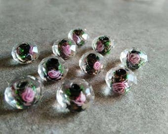2 faceted Lampwork Glass 13x9mm beads