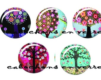5 cabochons 25 mm glass ready to stick Arbre2