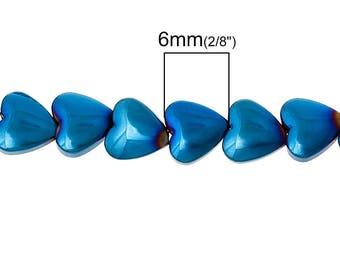 10 beads Hematite heart 6 mm