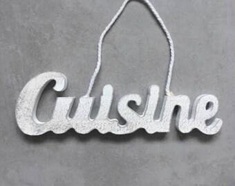 """Door plaque """"CUISINE"""" effect weathered grey - decorative hand made"""