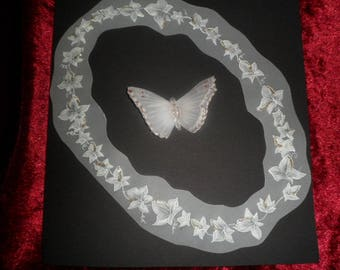 pergamano card any occasion White Butterfly motif and Ivy