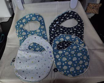 Baby BIBS baby blue or white all cotton patterned
