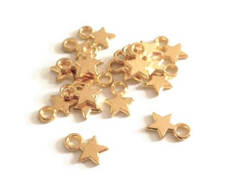 Set of 20 stars gold gilded, 10x8mm - gun - V5