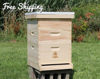Bee Hive 10 Frame Langstroth - 1 Deep Brood & 2 Medium Super Boxes includes Frames / Foundations