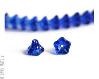 6 beads, glass Bell flower - Navy Blue