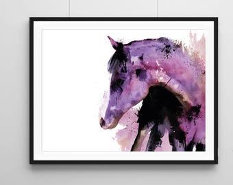 Horse illustration, fine arts print