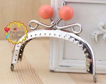 1 x 8.5 cm Pearl ring with fancy bag clasp resin orange N C62